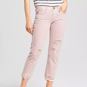 NWT Mossimo Pink Boyfriend Crop Ripped Jeans 16